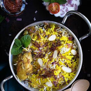 Order Chicken angaara Biryani online in Thane, Mumbai - Nusta Kitchen